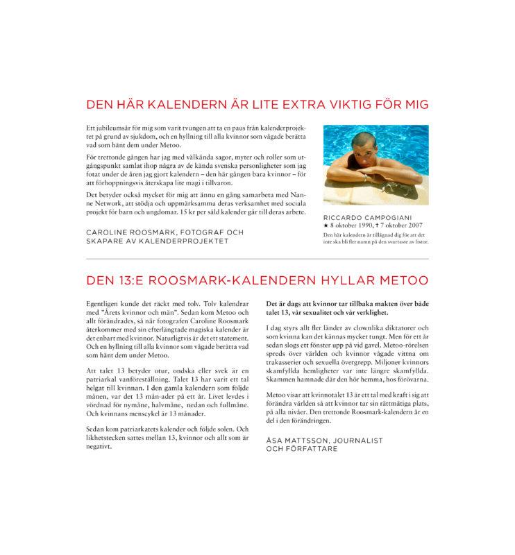DEN 13:E ROOSMARK-KALENDERN HYLLAR METOO